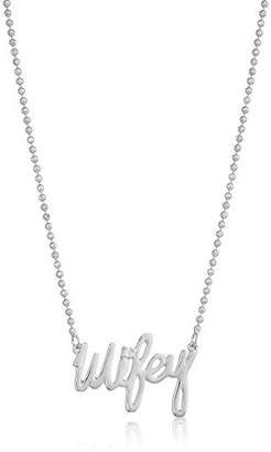 """Betsey Johnson Betsey Blue"""" Cubic Zirconia Stone Wifey Silver Pendant Necklace"""