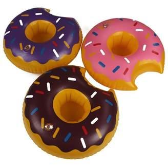 Pool' Funkeet Inflatable Drink Holder Pool Beverage Donuts Floaties, Party Favors - 3 Pack