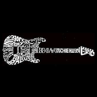 LOS ANGELES POP ART Los Angeles Pop Art Men's Tall and Long Word Art T-shirt - Rock Guitar
