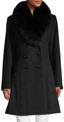 Sofia Cashmere Fox Fur-Trimmed Double-Breasted Coat