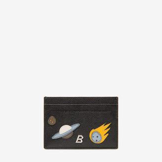 Bhar Black, Men's embossed calf leather card holder in black