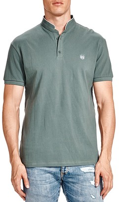 The Kooples Mandarin Collar Piqué Slim Fit Polo Shirt $120 thestylecure.com