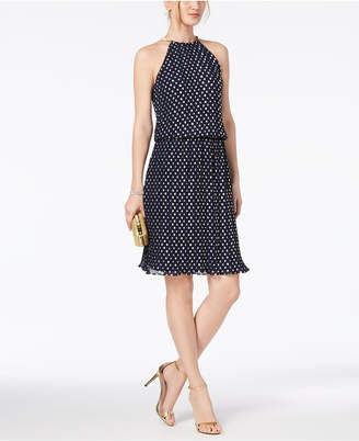 MSK Metallic-Dot Pleated Halter Dress