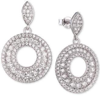 Tiara (ティアラ) - Tiara Cubic Zirconia Circle Drop Earrings in Sterling Silver