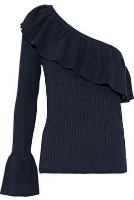 Rebecca Minkoff Ava One-Shoulder Ruffled Cotton And Cashmere-Blend Sweater