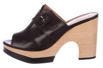 Robert Clergerie Leather Platform Peep-Toe Sandals