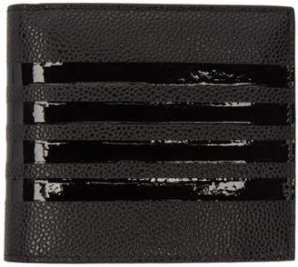 Thom Browne Black Patent Four Bar Billfold Wallet