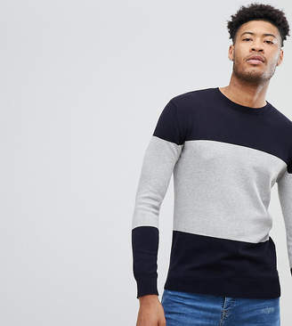 French Connection TALL Cotton Panel Crew Neck Sweater