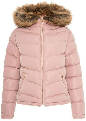 Quiz Nude Padded Faux Fur Trim Jacket