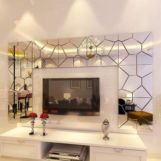 Mural M.way 1-70 PCS Removable 3D Acrylic Removable Mirror Tile Acrylic Mirror Sheets Mirror Decal Art Wall Sticker Home Room Decor DIY