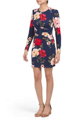 Printed Jersey Long Sleeve Ruched Bodycon Dress