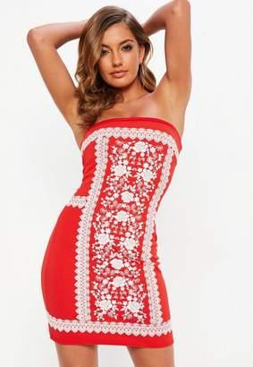 Missguided Red Bandeau Puff Print Mini Dress