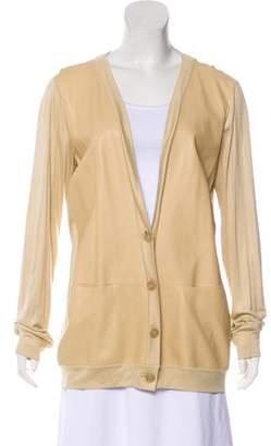 Rozae Nichols Leather Paneled Cardigan