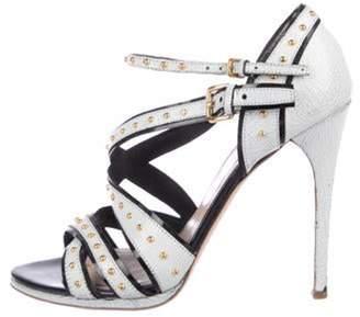 Miu Miu Studded Crossover Sandals Grey Studded Crossover Sandals