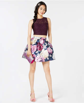 Speechless Juniors' Lace-Contrast Floral-Print 2-Pc. Dress