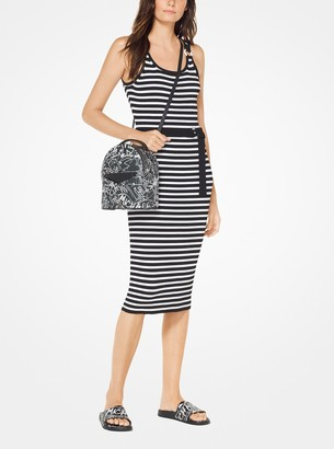 MICHAEL Michael Kors Striped Stretch Belted Dress