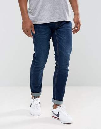 Pull&Bear Super Skinny Jeans In Dark Blue