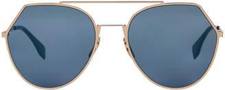 Fendi FF 0194 Gold-Tone & Blue Round Sunglasses