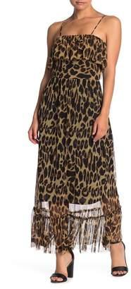 Free Press Leopard Print Ruffle Mesh Maxi Dress