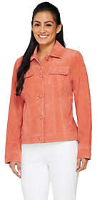 Dennis Basso Washable Suede Button FrontJacket