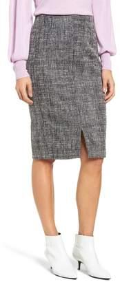 Halogen Tweed Slit Front Pencil Skirt (Regular & Petite)