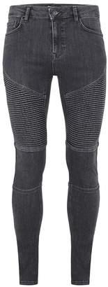 Topman Washed Black Biker Spray On Skinny Jeans