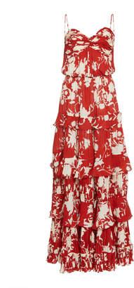 Johanna Ortiz Old Garden Rose Floral Silk Dress