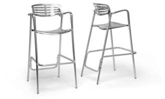 "Wholesale Interiors Ethan 34"" Modern Aluminum Bar-Height Stool, Set of 2, Silver"