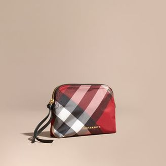 Burberry Medium Zip-top Check Technical Pouch $175 thestylecure.com