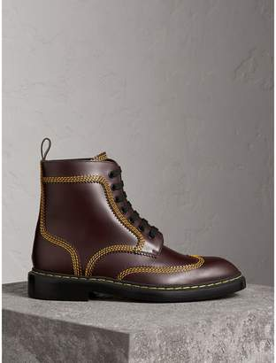 Burberry Topstitched Leather Derby Boots