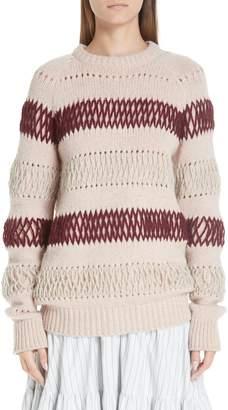 Calvin Klein Embroidered Stripe Wool Sweater