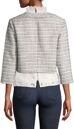 Karl Lagerfeld Paris 3/4-Sleeve Cropped Tweed Jacket