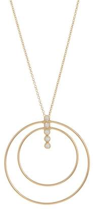 Argentovivo 18K Gold Plated Sterling Silver CZ Layered Circle & Bar Pendant Necklace