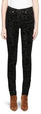 Saint Laurent Flocked Velvet Skinny Jeans