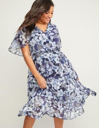 Lane Bryant Floral Chiffon Faux-Wrap Midi Dress