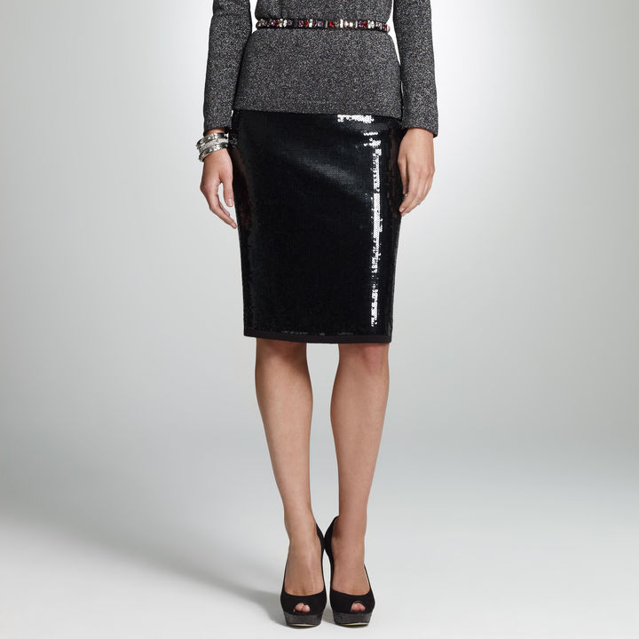 Jones New York Sequin Pull On Skirt