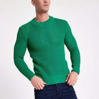 River Island Green slim fit long sleeve knitted sweater