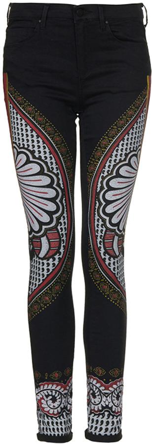 Topshop MOTO Black Ethnic Print Leigh Jeans