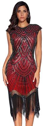 The Great IMAGICSUN Sequin Beaded 1920s Flapper Fringe Dress Art Deco Cocktail Dress