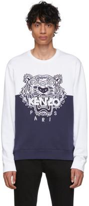 Kenzo (ケンゾー) - Kenzo 限定エディション ネイビー and ホワイト カラーブロック タイガー スウェットシャツ