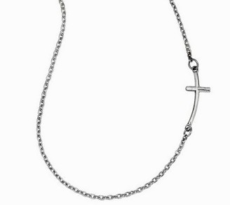"""18-3/4"""" Polished Horizontal Necklace w/ 7/8"""" Curved Cross, 14"""