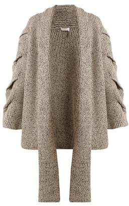 See by Chloe Oversized Cable Knit Cardigan - Womens - Grey