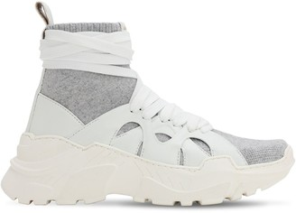 Agnona 40mm Cashmere & Leather Sneakers