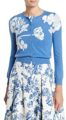 Oscar de la Renta Floral-Embroidered Button-Front Wool Cardigan