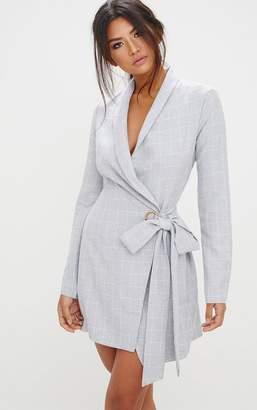 PrettyLittleThing Grey Checked Blazer Dress