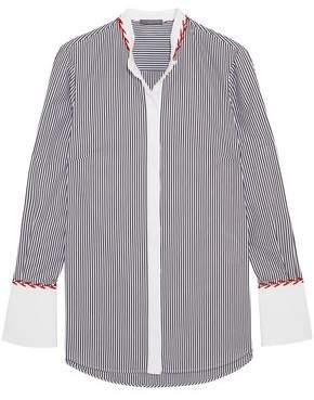 Alexander McQueen Embroidered Striped Cotton-pique Shirt
