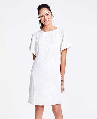 Ann Taylor Petite Leaves Jacquard Flutter Sleeve T-Shirt Dress