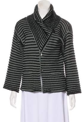 Armani Collezioni Striped Button-Up Cardigan