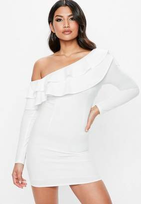 Missguided Frill Off The Shoulder Bodycon Dress