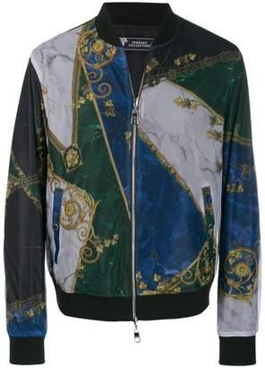 Versace printed mesh bomber jacket